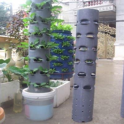 cách làm tháp trồng rau bằng ống nhựa