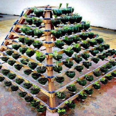 cách làm tháp trồng rau kim tự tháp từ chai nhựa