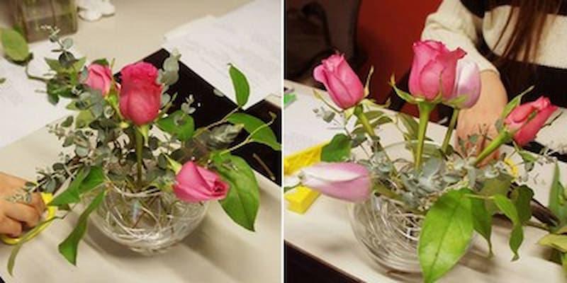 cắm hoa tỉ muội với bình tròn