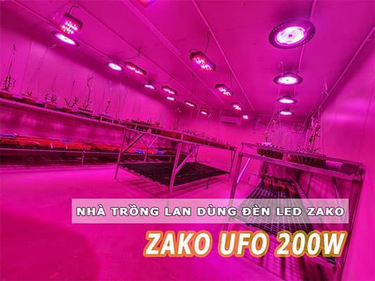 nhà trồng lan dùng đèn led ufo 200w
